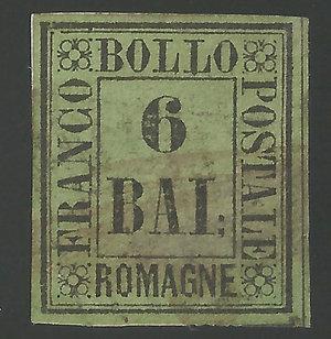 D/ FRANCOBOLLI. STATO PONTIFICIO. Pio IX (1846-70) 6 Bajocchi giallo. Annullato con bollo a griglia leggero. Sassone 7. (Certificato E.Diena)