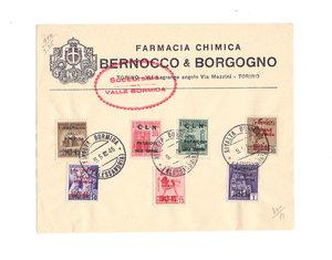 D/ STAMPE. ITALIA. Lettera della Farmacia Chimica Bernocco & Borgogno Torino – Via Lagrange angolo Via Mazzini – TORINO con timbro rosso Succursale VALLE BORMIDA. Affrancatura di 7 valori 9.5.45 delle Poste della Repubblica Sociale Italiana sovrastampati (PATRIOTI VALLE BORMIDA 1943-45; CLN PATRIOTI VALLE BORMIDA): 5, 20, 25, 30, 50, 75 cent., 1 lira.