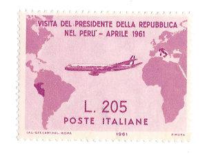 D/ FRANCOBOLLI. ITALIA. Repubblica. Francobollo da 205 lire emesso in occasione del viaggio del Presidente Gronchi in Perù (Gronchi Rosa) S.921.