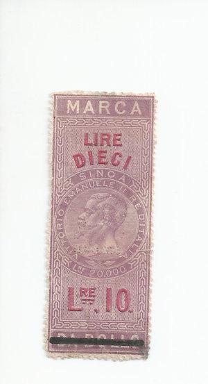 D/ CARTAMONETA. REGNO D'ITALIA. Vittorio Emanuele II (1861-78) Marca da bollo da Lire 10 del 16-11-1862. Usato come banconota. (Certificato Nasi W.). Rarissimo (R4) SPL