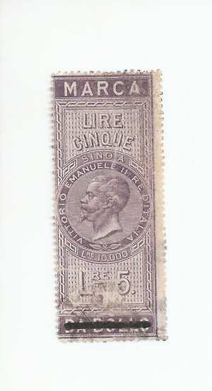 D/ CARTAMONETA. REGNO D'ITALIA. Vittorio Emanuele II (1861-78) Marca da bollo da Lire 5 del 16-11-1862. Usato come banconota. (Certificato Nasi W.). Rarissimo (R3) SPL/qFDS