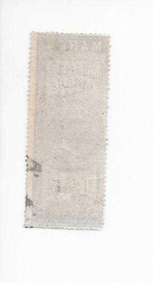 R/ CARTAMONETA. REGNO D'ITALIA. Vittorio Emanuele II (1861-78) Marca da bollo da Lire 5 del 16-11-1862. Usato come banconota. (Certificato Nasi W.). Rarissimo (R3) SPL/qFDS