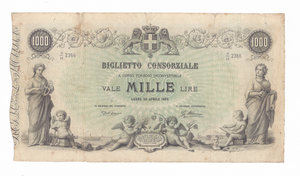 D/ CARTAMONETA. REGNO D'ITALIA. Umberto I (1878-1900) Biglietto Consorziale da Lire 1.000 lire Decreto 30/4/1874, ns. S/16 2366. Alfa CONS.20. (Firme: Dall'Ara-Mirone) (Certificato M.Straziota). Restauri perimetrali. Rarissimo (R4) BB/SPL