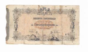 D/ CARTAMONETA. REGNO D'ITALIA. Umberto I (1878-1900) Biglietto Consorziale da Lire 250. N. serie 25 5058. Emissione 30 Aprile 1874 (Firme: Dall'Ara – Mirone). Crapanzano BC8. (Certificato Nasi W.). Biglietto con piegature e restauri, ma integro.  Rarissimo (R5) BB
