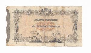 R/ CARTAMONETA. REGNO D'ITALIA. Umberto I (1878-1900) Biglietto Consorziale da Lire 250. N. serie 25 5058. Emissione 30 Aprile 1874 (Firme: Dall'Ara – Mirone). Crapanzano BC8. (Certificato Nasi W.). Biglietto con piegature e restauri, ma integro.  Rarissimo (R5) BB