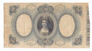 R/ CARTAMONETA. REGNO D'ITALIA. Umberto I (1878-1900) Biglietto Consorziale da Lire 100. N. serie 6 9608. Emissione 30 Aprile 1874 (Firme: Dall'Ara – Mirone). Crapanzano BC7. (Certificato Nasi W.). Biglietto piegato e con forellini.       Rarissimo (R4) BB/SPL