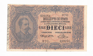 D/ CARTAMONETA. REGNO D'ITALIA. Umberto I (1878-1900) 10 Lire N.serie 39 39254 . Emissione 6 Agosto 1889 (Firme: Dall'Ara – Pia) Alfa BS.73 (tiratura 15 esemplari). (Certificato Nasi W.).                                                               Rarissimo (R5)   qSPL/SPL
