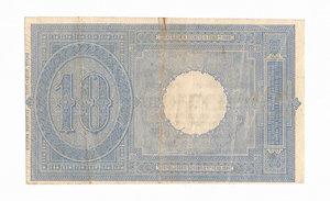 R/ CARTAMONETA. REGNO D'ITALIA. Umberto I (1878-1900) 10 Lire N.serie 39 39254 . Emissione 6 Agosto 1889 (Firme: Dall'Ara – Pia) Alfa BS.73 (tiratura 15 esemplari). (Certificato Nasi W.).                                                               Rarissimo (R5)   qSPL/SPL