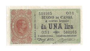 D/ CARTAMONETA. REGNO D'ITALIA. Umberto I (1878-1900) 1 Lira N.serie 31 588965. Emissione 18.01.1894 (R.Decr. 4 Agosto 1893) (Firme: Dall'Ara – Crodara) Alfa BC 2. (tiratura 2 esemplari) (Certificato Nasi W.).                    Di Estrema Rarità (R7) BB/SPL