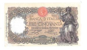 D/ CARTAMONETA. REGNO D'ITALIA. Vittorio Emanuele III (1900-46). 50 Lire. Emissione 18.05.1917. R.Decr. 18.05.1917 e 16.06.1915. N.serie L45 6997. (Firme: Stringher-Sacchi) Alfa BI.213. Piega restaurata in basso a sin. e in alto a d.      Molto Raro SPL/qFDS