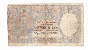 R/ CARTAMONETA. REGNO D'ITALIA. Vittorio Emanuele III (1900-46). 25 lire. Decreto 23/3/1902, ns. 074266-17.  (Dall'Ara-Righetti). Alfa BS.98. (tiratura 3 esemplari) (Certificato G. Vendemia). Biglietto di notevole importanza numismatica. Strappo chiuso lungo la piega verticale e due piccoli interventi di riparazione del bordo inferiore.   Di Estrema Rarità (R7) qBB