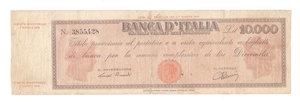 """D/ CARTAMONETA. REPUBBLICA SOCIALE ITALIANA. Titolo Provvisorio da 10.000 Lire """"Luogotenenza"""". N. 3,855,428. Decr.M. 30.07.1896 e 07.08.1943. (Gov. Einaudi). BI 815. (Certificato Nasi W.).                                     Rarissimo (R3)  MB"""