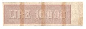 """R/ CARTAMONETA. REPUBBLICA SOCIALE ITALIANA. Titolo Provvisorio da 10.000 Lire """"Luogotenenza"""". N. 3,855,428. Decr.M. 30.07.1896 e 07.08.1943. (Gov. Einaudi). BI 815. (Certificato Nasi W.).                                     Rarissimo (R3)  MB"""