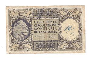 D/ CARTAMONETA. SOMALIA (Amm. Fiduciaria Italiana). Cassa per la circolazione monetaria della Somalia. 100 Somali. Emissione 1950. N.serie A002 96940. (Spinelli – Giannini). Pick 15a. Rarissimo (R5) qSPL