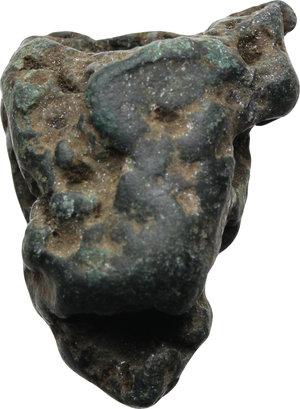 D/ ROMA REP. Latium. Anonimi (VI-IV sec. a.C.) Aes Rude (gr.25,35 – 30x23,2x14,9). Parte di pane. Thurlow-Vecchi pl.2. AE. (Patina verde)   qSPL