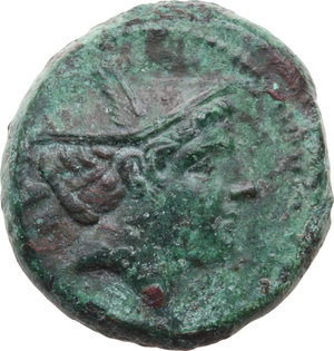 D/ ROMA REP. Romano-Campane (212-187 a.C.) Semuncia (Ø20,5 gr.7,2). D/Testa di Mercurio a d. R/Prora di nave d. Syd.87. AE. (Patina verde)  qSPL