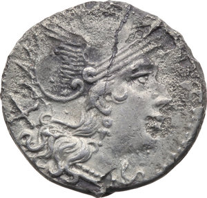D/ ROMA REP. Periodo Anonimo (dopo il 211 a.C.) Denario (gr.4,02). D/Testa elmata di Roma a d., dietro X. R/I Dioscuri a cavallo verso d., es. ROMA. Cr.44/5. (Fessurato). AR. (Di stile molto pregevole)  MB/BB
