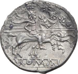 R/ ROMA REP. Periodo Anonimo (dopo il 211 a.C.) Denario (gr.4,02). D/Testa elmata di Roma a d., dietro X. R/I Dioscuri a cavallo verso d., es. ROMA. Cr.44/5. (Fessurato). AR. (Di stile molto pregevole)  MB/BB