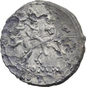 R/ ROMA REP. Periodo Anonimo (dopo il 211 a.C.) Denario (gr.3,80). D/Testa elmata di Roma a d., dietro X. R/I Dioscuri a cavallo verso d., es. ROMA. Cr.44/5. (Fessurato). AR. (Conio fresco, corrosioni)  BB/MB