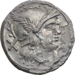 D/ ROMA REP. Periodo Anonimo (dopo il 211 a.C.) Denario (gr.3,70). D/Testa elmata di Roma a d., dietro X. R/I Dioscuri a cavallo verso d., es. ROMA. Cr.44/5. (Corrosioni). AR.  qMB/BB