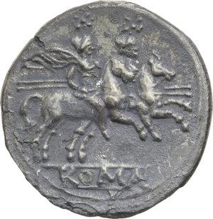 R/ ROMA REP. Periodo Anonimo (dopo il 211 a.C.) Denario (gr.3,70). D/Testa elmata di Roma a d., dietro X. R/I Dioscuri a cavallo verso d., es. ROMA. Cr.44/5. (Corrosioni). AR.  qMB/BB