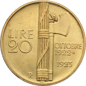 REGNO D'ITALIA. Vittorio Emanuele III (1900-46) 20 Lire 1923 (fascetto). Pag.670. AU.                                                                                        Raro