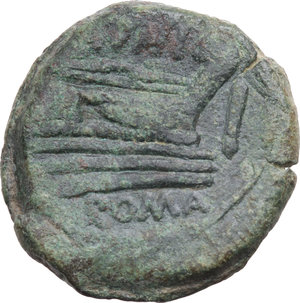 R/ ROMA REP. Periodo Anonimo (110-108 a.C.) Asse (Ø31,5 gr.22,1). D/Testa di Giano. R/Prora di nave a d. e IVNI. Craw.210/2. B.2. AE. BB