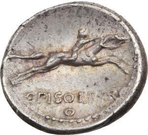 R/ ROMA REP. Calpurnia. C.Piso L.f.Frugi (64 a.C.) Denario. D/Testa di Apollo a s., a d. ●Σ. R/Cavaliere a d., in basso scritta. B.25. (D/ poroso). AR.  Raro  BB/SPL