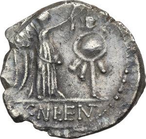 R/ ROMA REP. Cornelia. Cn.Lentulus Clodianus (88 a.C.) Quinario. D/Testa laur. di Giove a d. R/La Vittoria incorona un trofeo, es. : CN LENT. Syd.703. AR.  SPL/qSPL