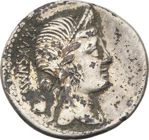 D/ ROMA REP. Egnatia. Cn.Egnatius Cn.f.Cn.n.Maxumus (73 a.C.) Denario. D/Busto della Libertà a d. R/Roma e la Venus in piedi su prora di nave. B.2/Cas.148. AR. (Suberato)                                                              Raro    qBB