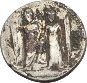 R/ ROMA REP. Egnatia. Cn.Egnatius Cn.f.Cn.n.Maxumus (73 a.C.) Denario. D/Busto della Libertà a d. R/Roma e la Venus in piedi su prora di nave. B.2/Cas.148. AR. (Suberato)                                                              Raro    qBB