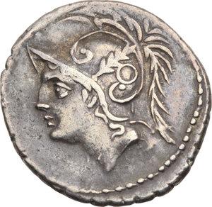 D/ ROMA REP. Minucia Q.Thermus M.f. (96-95 a.C.) Denario. D/Testa con elmo di Marte a s. R/Due guerrieri, uno romano ed uno barbaro, combattono,tra loro un barbaro ferito. B.19/Cas.244. AR.   qSPL