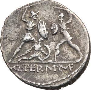 R/ ROMA REP. Minucia Q.Thermus M.f. (96-95 a.C.) Denario. D/Testa con elmo di Marte a s. R/Due guerrieri, uno romano ed uno barbaro, combattono,tra loro un barbaro ferito. B.19/Cas.244. AR.   qSPL