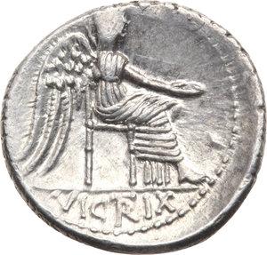 R/ ROMA REP. Porcia. M. Cato (89 a,C.) Denario, D/Busto a d. della Libertà. R/La Vittoria (Virgo) seduta a d. B.5/Cas.306. AR. qFDC