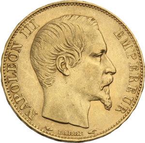 FRANCIA. Napoleone III (1852-70) 20 Franchi 1854A. Fr.573. AU.