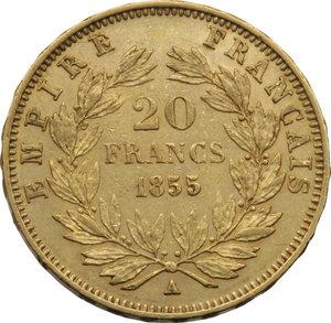 FRANCIA. Napoleone III (1852-70) 20 Franchi 1855A. Fr.573. AU.