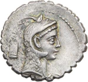 D/ ROMA REP. Roscia. L. Roscius Fabatus (59 a.C.) Denario. D/Testa di Juno Sospita. R/Figura femminile a d., a s.modio, davanti, serpente eretto. B.3/Cas.325. AR. qSPL