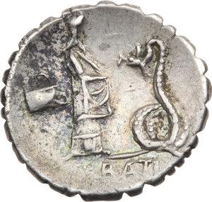 R/ ROMA REP. Roscia. L. Roscius Fabatus (59 a.C.) Denario. D/Testa di Juno Sospita. R/Figura femminile a d., a s.modio, davanti, serpente eretto. B.3/Cas.325. AR. qSPL