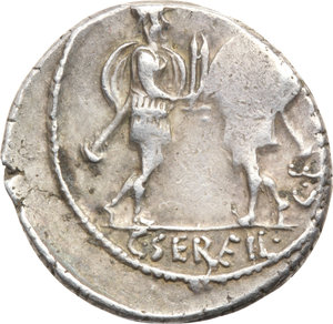 R/ ROMA REP. Servilia. C.Servilius (63-62 a.C.) Denario. D/Testa di Flora a d. dietro lituus. R/Due guerrieri affrontati presentano le spade. B.15/Cas.343. AR.  qBB