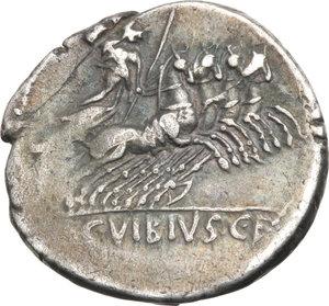 R/ ROMA REP. Vibia. C.Vibius c.f.Pansa (89-88 a.C.). Denario. D/Testa laur. di Apollo a d., davanti al collo simbolo. R/Minerva in quadriga verso d. B.1/Cas.377. AR. qBB