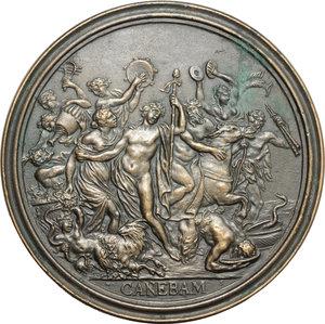 reverse: Arezzo.  Francesco Redi (1626-1698), medico e poeta. . Medaglia 1684, bordo modanato, per l attività di poeta del Redi, in omaggio alla sua composizione  Bacco in Toscana