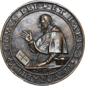 obverse: Bologna.  Luigi Capponi (1583 - 1659), cardinale, arcivescovo e bibliotecario.. Medaglia fusa 1619 per la posa della prima pietra della Chiesa di Santa Maria in Lacrimosa