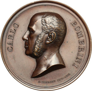 obverse: Genova.  Carlo Bombrini (1804-1882), banchiere e imprenditore italiano.. Medaglia 1882
