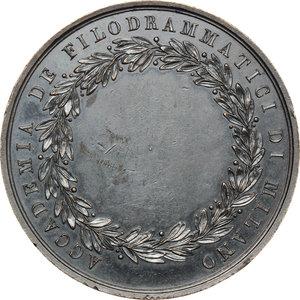 reverse: Milano.  Accademia dei Filodrammatici. Medaglia con effigi di Goldoni e Alfieri
