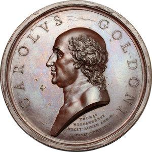 obverse: Roma.  Carlo Goldoni (1707-1793), Drammaturgo e librettista. Medaglia 1808