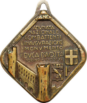 reverse: Torino.  Emanuele Filiberto Duca di Savoia-Aosta (1869-1931). Medaglia dell Adunata Nazionale Combattenti per l inaugurazione del monumento ad Duca d Aosta. Torino 4 luglio 1937