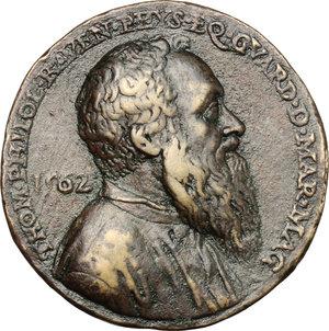 obverse: Venezia.  Tommaso Rangone (1485-1577), Guardian Grande della Scuola Grande di San Marco.. Medaglia 1562, fusa