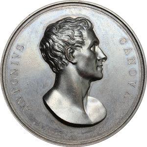 obverse: Venezia.  Antonio Canova (1757-1822), scultore. Medaglia 1827, per ricordare la morte di Canova e la sepoltura nella Basilica dei Frari a Venezia