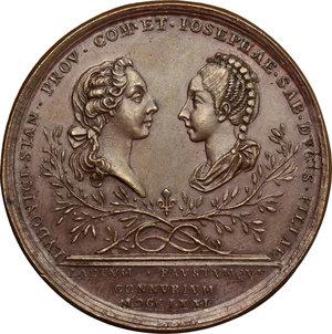 reverse: Casa Savoia.  Carlo Emanuele III (1730-1773).. Medaglia 1771, per le nozze di Maria Giuseppina Luisa di Savoia (1753-1810) con Luigi Stanislao di Borbone (1755-1824), conte di Provenza e fratello del delfino di Francia