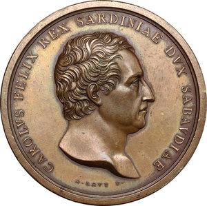 obverse: Casa Savoia.  Carlo Felice (1821-1831).. Medaglia 1824, per la sistemazione Fiume Isere